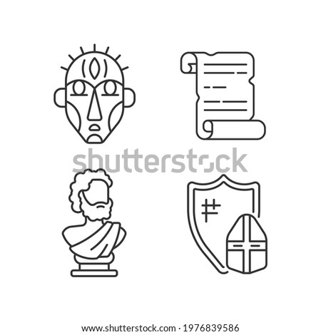 Exploring ancient lives linear icons set. Ritual masks. Manuscripts. Sculpted philosopher bust. Customizable thin line contour symbols. Isolated vector outline illustrations. Editable stroke Stock photo ©