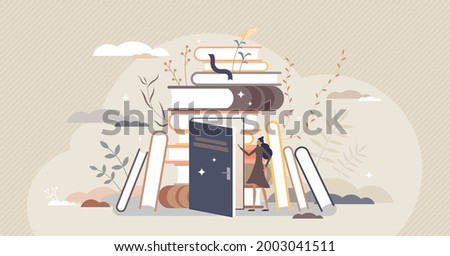 Exploring books and open education door to new knowledge tiny person concept. Reading hobby and relaxation with literature vector illustration. Expanding horizon and learning scene with novel pile. Foto stock ©