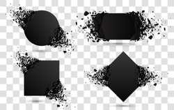 Explosion banners. Square and circle destruction shapes with debris isolated on white background. 3d effect of particles.