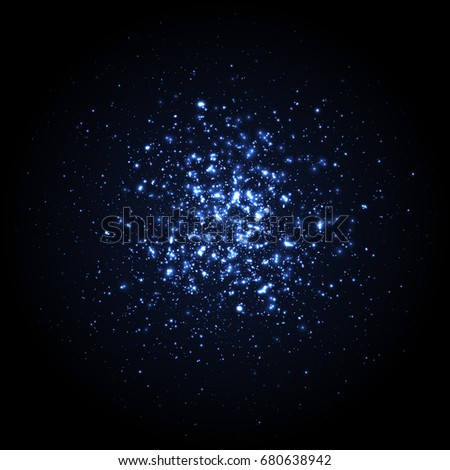 Explosion blue particles from the center. Light effect, star burst with sparkles. Abstract bright cyan glowing background with glittering color particles. Sparkle blue dots.  - Shutterstock ID 680638942