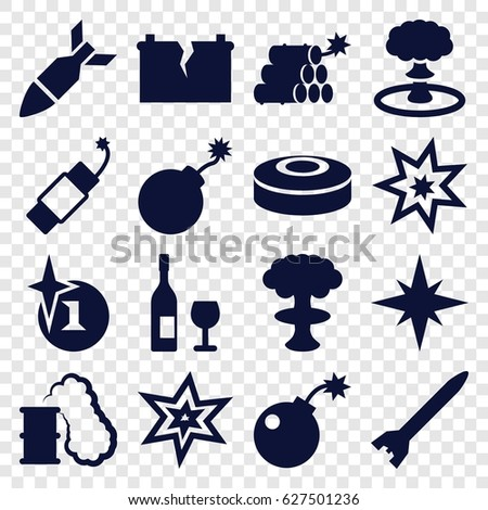 explosion icons set set of 16