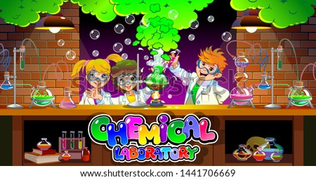 A Student in Science Lab Class - Download Free Vector Art, Stock