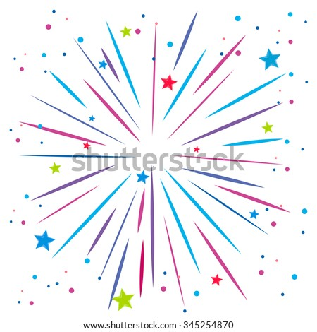 Explosion of firework on white illustration