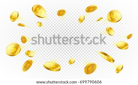 explosion of gold coins with