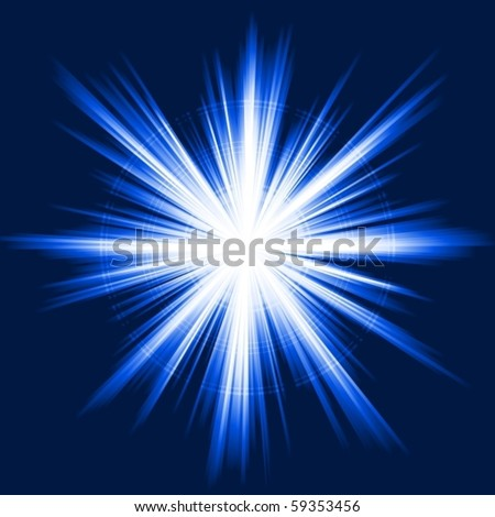 Explosion of light from white to dark blue. No transparencies, use of clipping mask. 5 Global color swatches for easy color exchange. Lighter rings in separate layer.