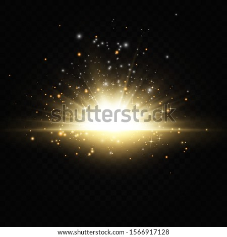 Explosion of the sun Shining golden stars isolated on black background. Effects, glare, lines, glitter, explosion, golden light. Vector illustration. Set.