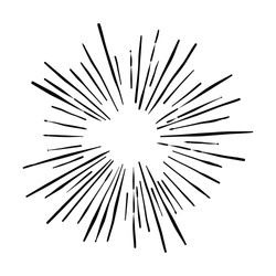 Explosion vector illustration. Rays element. Sunburst, starburst shape on white. Radial lines. Abstract circular geometric shape. Sun ray or star burst light element.