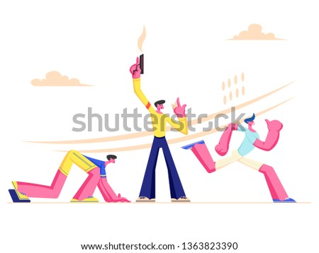 Explosive Starting at Sport Running Competition. Athlete Sprinter Runner Sportsmen Characters Run Marathon, Sprint Race. Man Shooting with Blank Gun on Start of Track. Cartoon Flat Vector Illustration