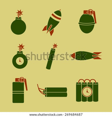 explosives symbols set