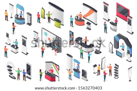 Expo center, product display stands, visitors and consultants people, vector isometric icons. Exhibition and promo exposition company demo stands and showcase booth racks or information desks