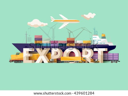 Export concept. Typographic poster.