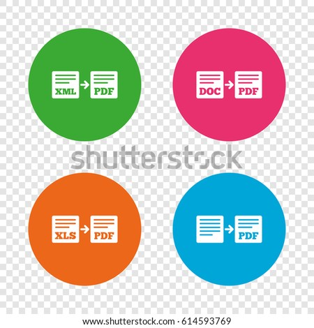 Export file icons. Convert DOC to PDF, XML to PDF symbols. XLS to PDF with arrow sign. Round buttons on transparent background. Vector