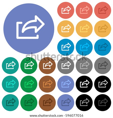 Export multi colored flat icons on round backgrounds. Included white, light and dark icon variations for hover and active status effects, and bonus shades on black backgounds.