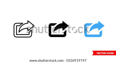 Export symbol icon of 3 types: color, black and white, outline. Isolated vector sign symbol.