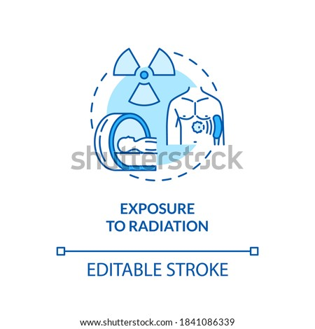 Exposure to radiation concept icon. Cancer risk factors. Melanoma treatment. Ionizing radiation idea thin line illustration. Vector isolated outline RGB color drawing. Editable stroke