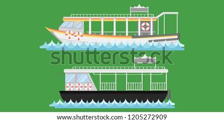 Express boat ship boat vessel craft barge ark river water Lifebuoy barge float raft punt pram pontoon passenger fare chair pad ticket vector illustrator eps10