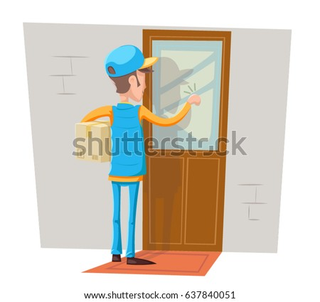 Express Courier Special Delivery Boy Man Messenger Cardboard Box Concept Knocking at Customer Door Wall Background Retro Cartoon Design Vector Illustration