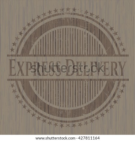 Express Delivery badge with wooden background