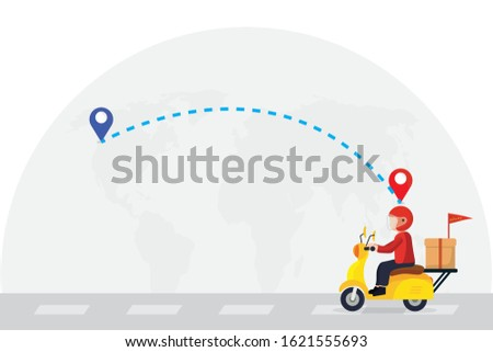 Express delivery concept. Delivery man ride scooter motorcycle jumping over the map .Fast and free worldwide shipping.