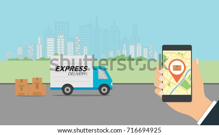 Express delivery concept. Delivery service app on mobile phone in hand. Delivery truck and mobile phone with city background. Vector illustration.