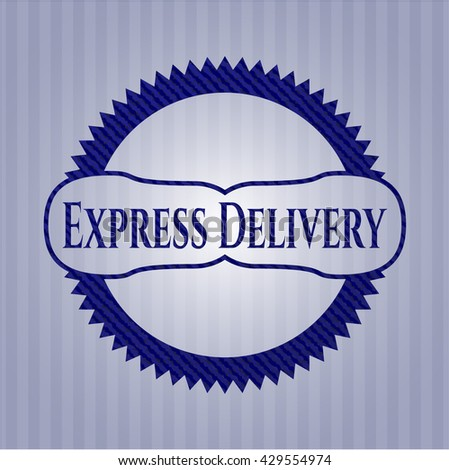 Express Delivery emblem with jean background