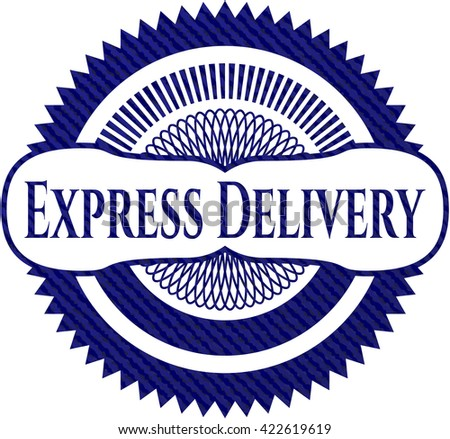 Express Delivery emblem with jean high quality background