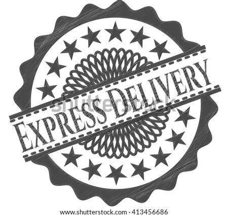 Express Delivery emblem with pencil effect