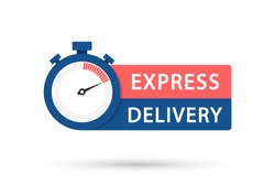 Express delivery icon. Express delivery logo concept for apps and website. Template design for service, order, fast, free and worldwide shipping. Timer with template, vector illustration