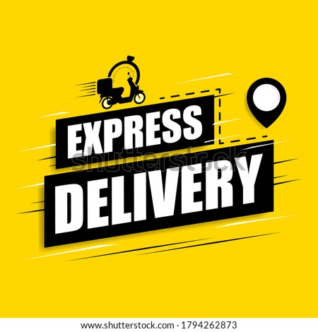 Express delivery icon on a yellow background. Motorcycle scooter with stopwatch icon for service, order, fast, free and worldwide delivery. Vector illustration.