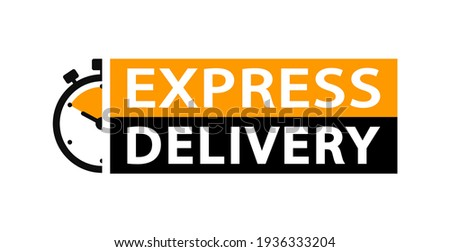 Express delivery logo. Timer icon with inscription for express service. Delivery concept. Fast delivery. Quick shipping icon. Vector illustration. Foto stock ©