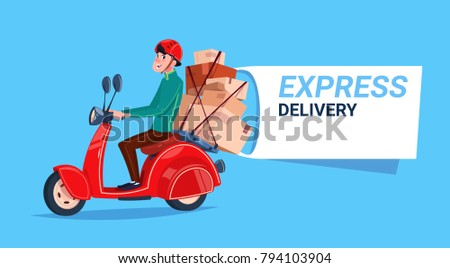 Express Delivery Service Icon Courier Boy Riding Motor Bike Template Banner With Copy Space Flat Vector Illustration