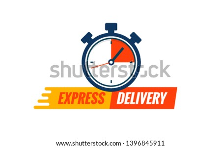 Express delivery service logo. Fast time delivery order with stopwatch. Quick shipping delivery icon.