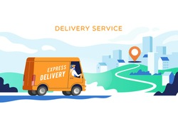 Express delivery truck with man is carrying parcels on points. Concept online map, tracking, service. Vector illustration.