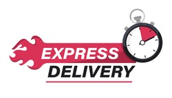 Express delivery with Stopwatch icon. Sticker, label Fast delivery. Timer and express delivery inscription. Urgent shipping services. Online delivery, quick move. fast distribution service 24-7
