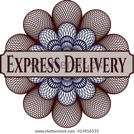 Express Delivery written inside abstract linear rosette