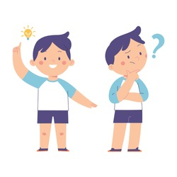 expression of a little boy who gets a new idea with a light bulb and the expression of asking questions with question marks, character vector illustration