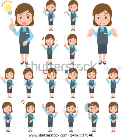 Expression variation set of women working in the office