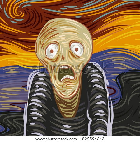 expressionist design of a shouting worried man