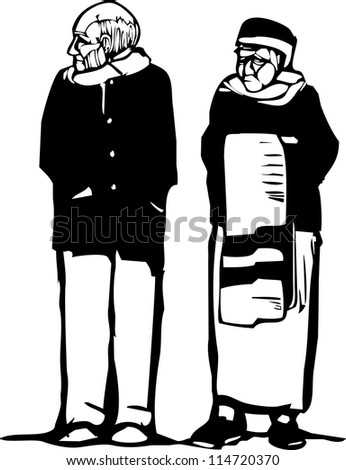 Expressionist woodcut style image of an old woman and old man.