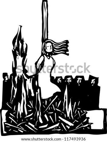 Expressionist woodcut style Woman,Saint or Witch being burned at the stake being watched by a crowd.