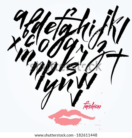 Expressive calligraphic script Lots of blots and splashes