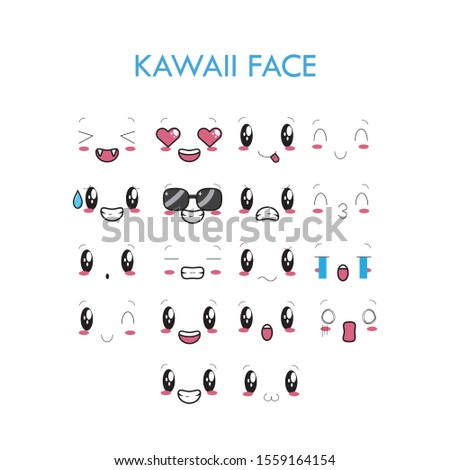 Expressive eyes and mouth, smiling, crying and surprised character cartoon face expressions. Good for caricature comic emotions, advertising, website, or emoticon doodle.
