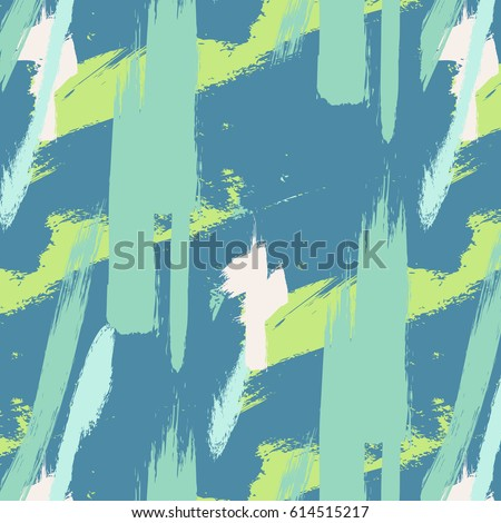 Expressive minimalistic pattern. Contemporary green pastel decoration. Hipster hand drawn brush print. Stylish vector geometric strokes fantasy print .Speed style art