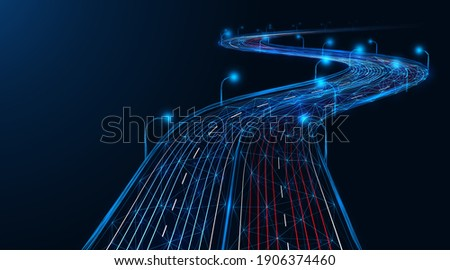 Expressway, the effect of car headlights. Low-poly construction of fine lines. Blue background. Foto stock ©
