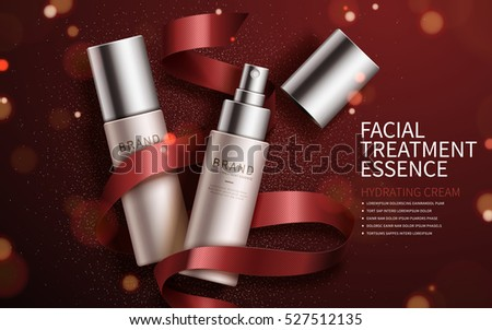 Exquisite cosmetic ads, facial treatment essence set for annual sale or christmas sale. Red ribbon and particles elements. 3D illustration.