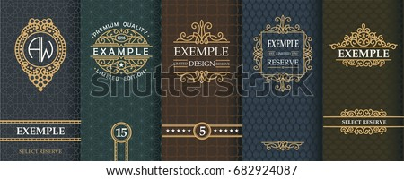 Exquisite set of design templates for label and package of whiskey.