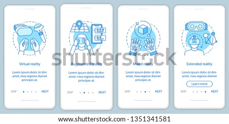 Extended reality onboarding mobile app page screen with linear concept. Virtual, augmented, mixed realities walkthrough steps graphic instructions. UX, UI, GUI vector template with illustrations