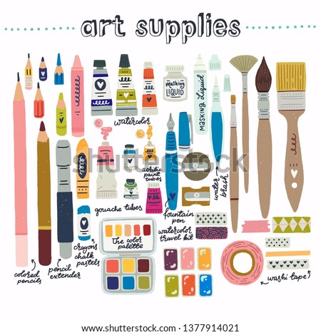 Extended toolkit of art supplier for drawing and painting. Set of flat style elements for artists and designers. Cartoon images of painting brushes, tubes, washi tapes, crayons, pencils, sharpeners stock photo