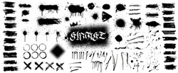 Extensive collection of black paint, great elaboration, spray graffiti stencil template ink brush strokes, brushes, lines. Paint splats blotches. Ink splashes stencil, Isolated vector set, grunge