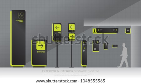 exterior and interior signage system. direction, pole, wall mount and traffic signage system design template set. empty space for logo, text, green and black color corporate identity